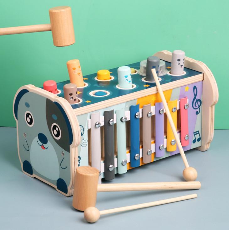 Đồ chơi đập chuột kệt hợp đàn gỗ (3 trò chơi trong 1 sản phẩm) cho bé