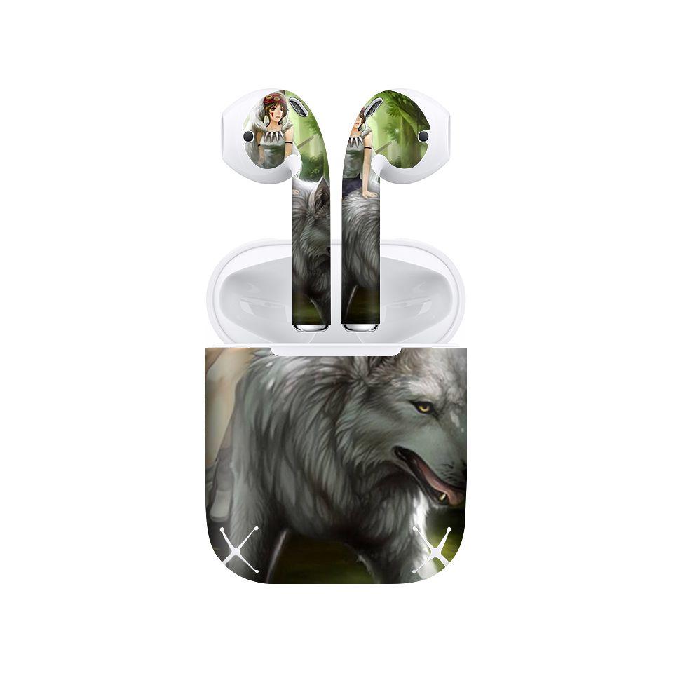 Miếng dán skin chống bẩn cho tai nghe AirPods in hình công chúa sói Mononoke - csm001 (bản không dây 1 và 2)