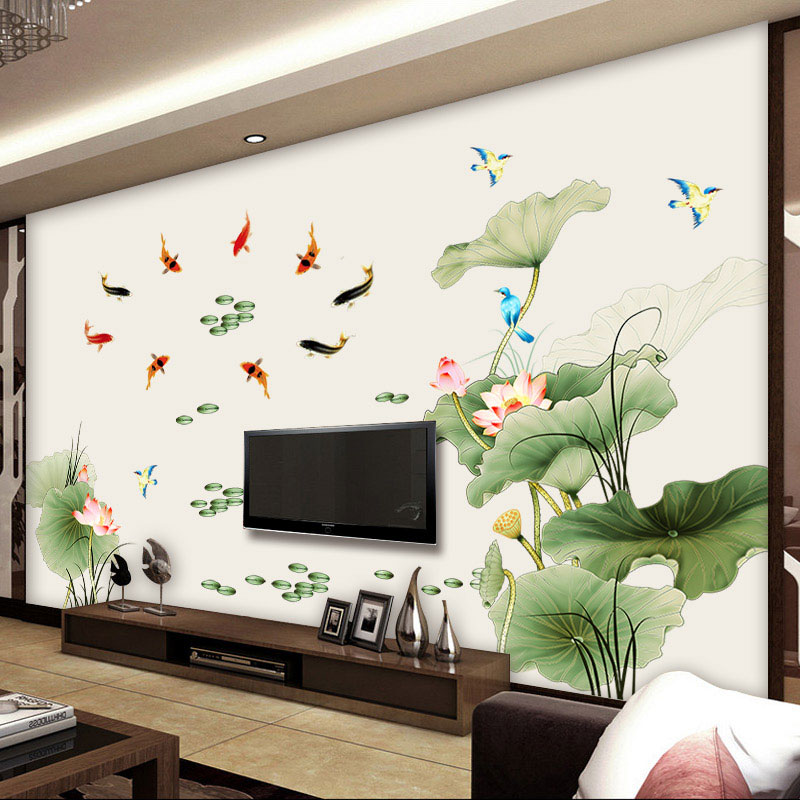 [Size lớn ]Decal dán tường Hồ sen và cá chép CH2001