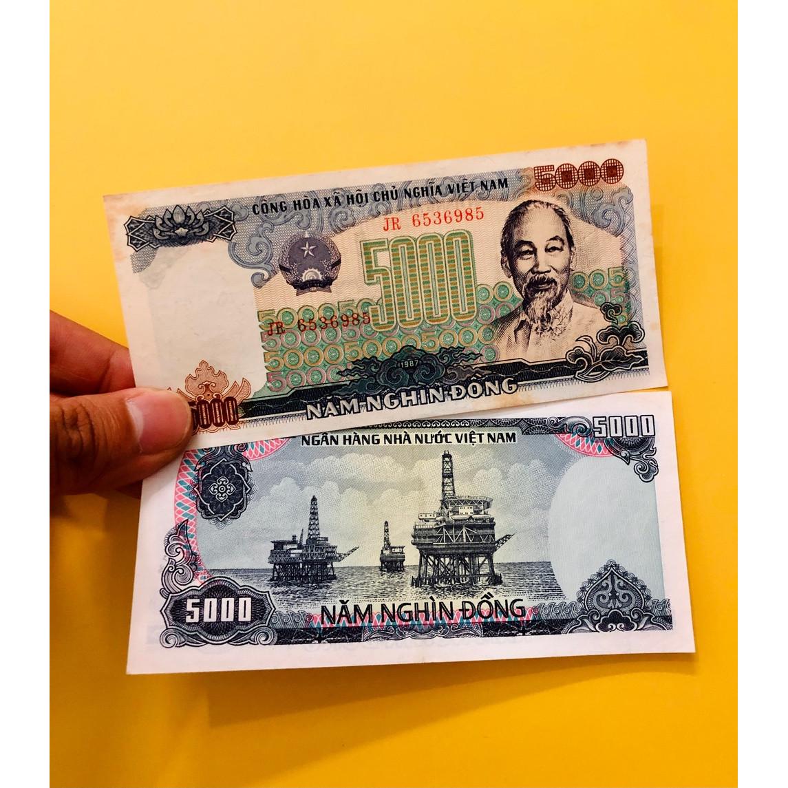 Tờ tiền 5000 đồng Việt Nam 1987 hình ảnh giàn khoan dầu khí, tiền xưa thời bao cấp sưu tầm