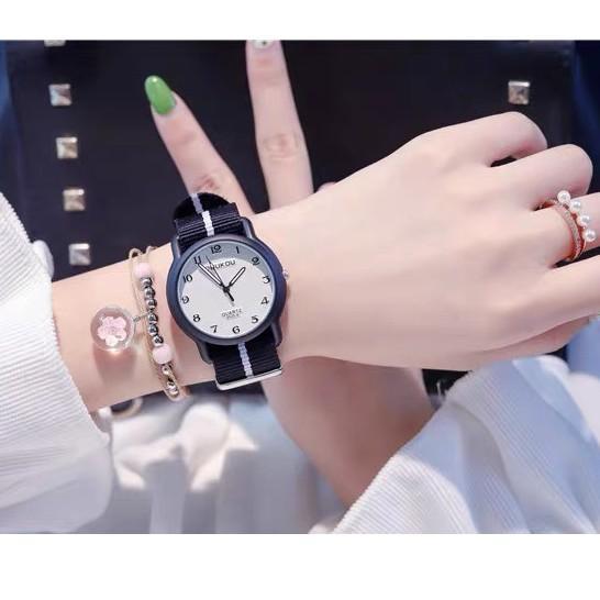 Đồng hồ nữ Doukou chính hãng mặt dạ quang sáng trong đêm tối dây vải thời trang năng động