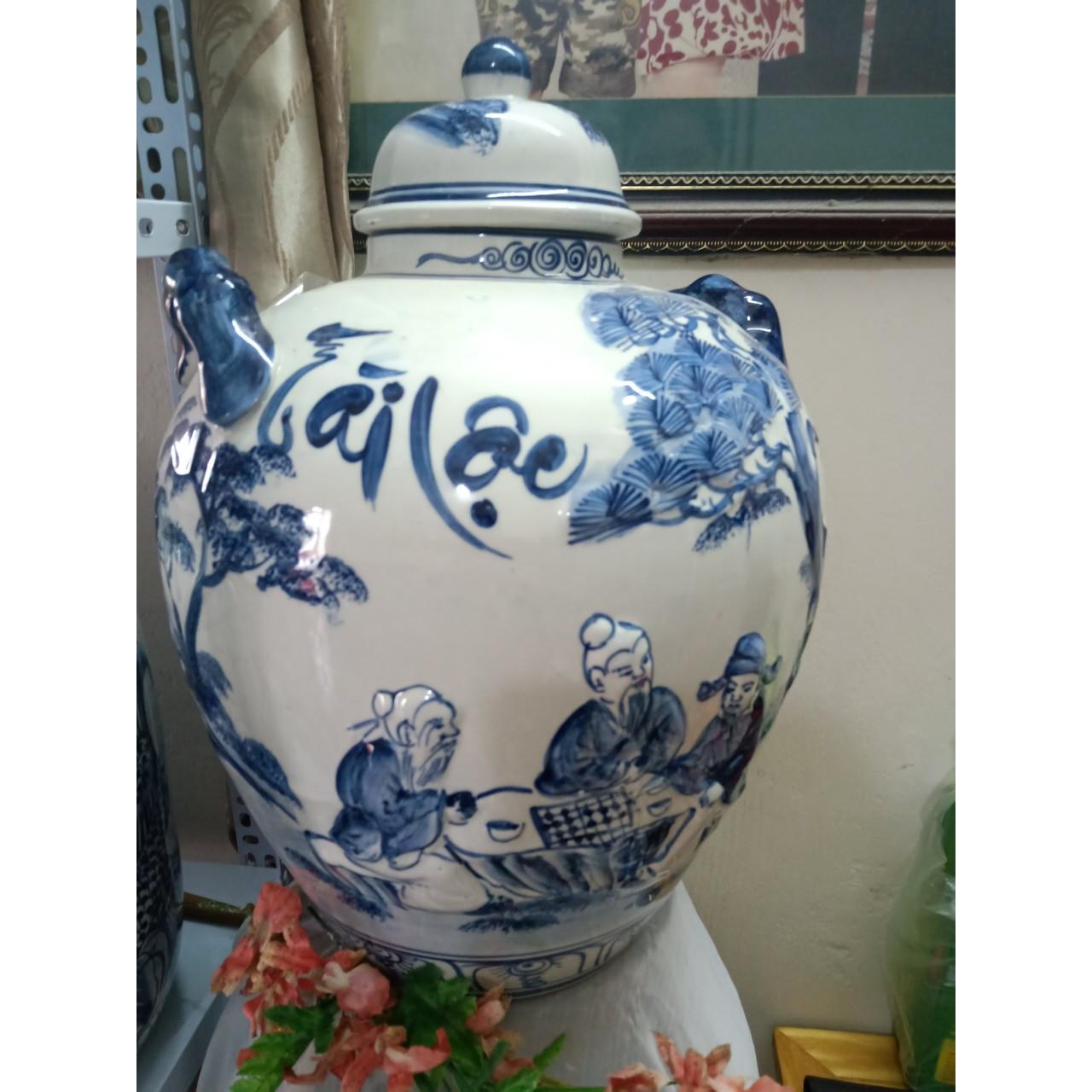 Hũ đựng rượu vẽ cảnh gốm sứ Bát Tràng