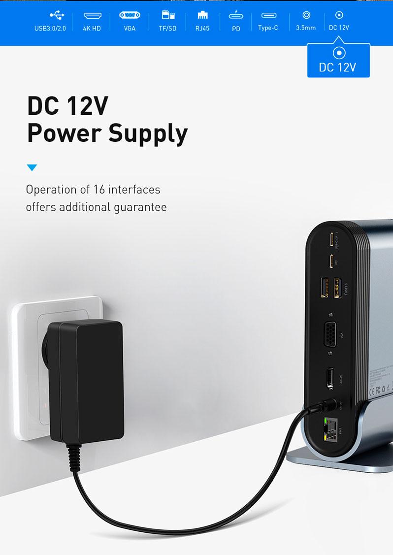 Hub chuyển đa năng Baseus Working Station 16 in 1 Multifunctional chuyển đổi tốc độ cao (Type C*4 / HDMI / VGA / RJ-45 Gigabit / SD,TF Card / USB3.0*3/ USB2.0*2/ Audio AUX 3.5mm/ DC 12V) tương thích với tất cả các thiết bị - Hàng chính hãng