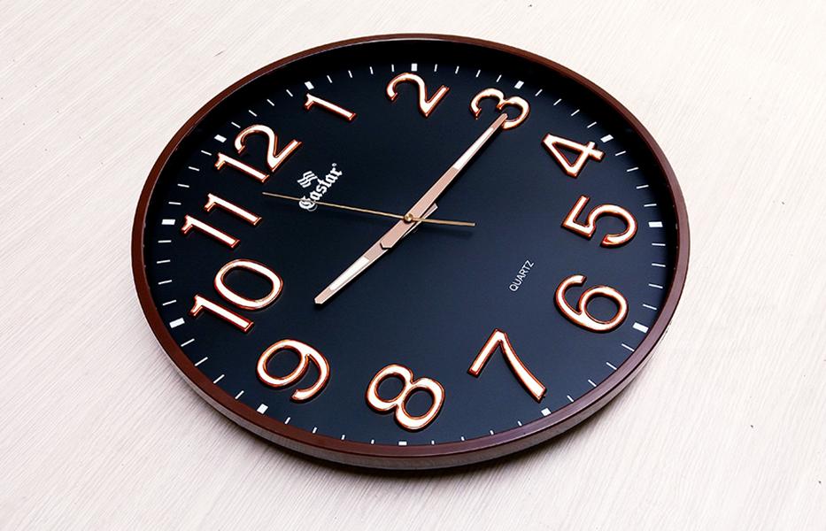 Đồng hồ Eastar Tròn Lớn (Mặt Số Màu Đen) – Số nổi 3D có Dạ quang (*) – Máy kim trôi