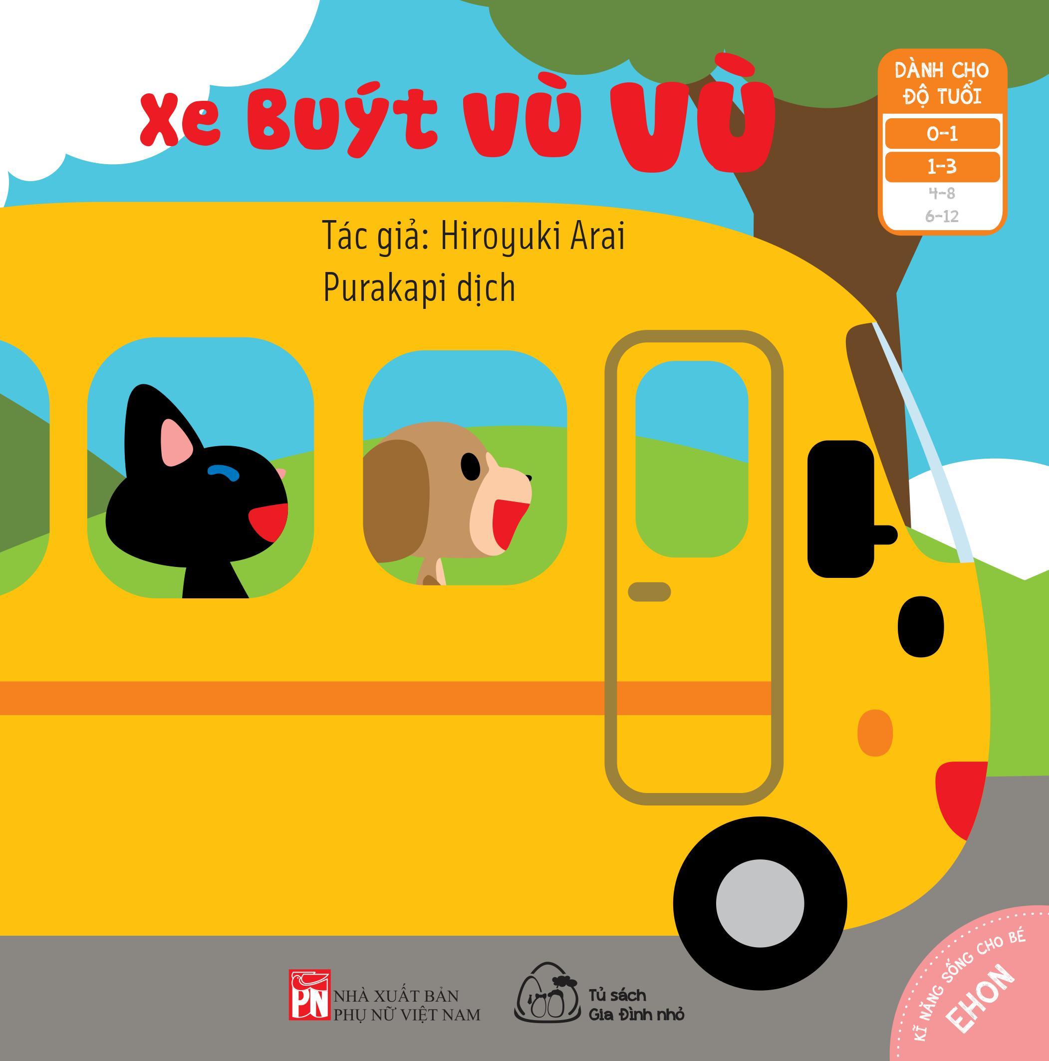 """Bộ 03 cuốn sách Ehon Nhật Bản """"Những mảng màu đẹp"""": Huỵch! Bộp! Ghì chặt + Xe buýt vù vù + Bánh xe lăn tròn"""