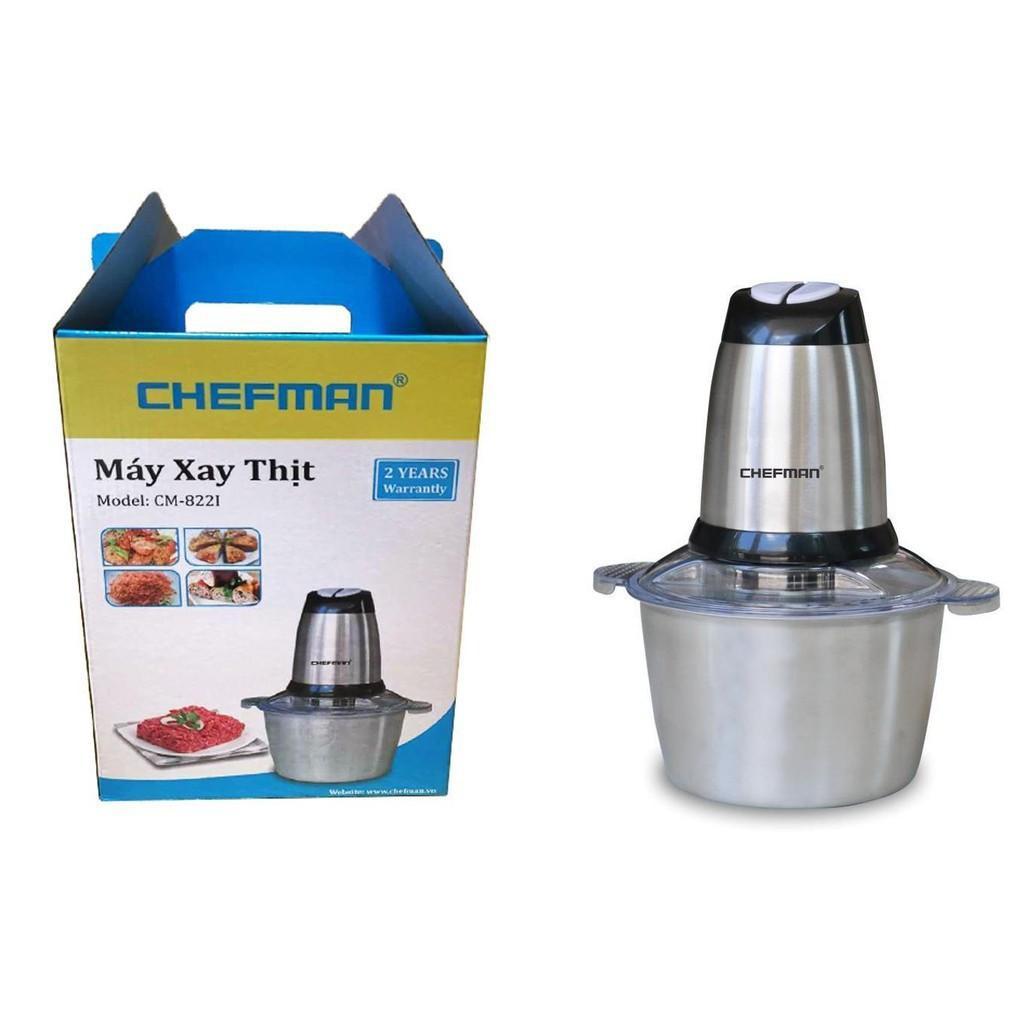 Máy Xay Thịt Cối Inox Chefman CM - 822i, Máy Xay Thực Phẩm Đa Năng Công Suất Lớn Dung Tích 2l