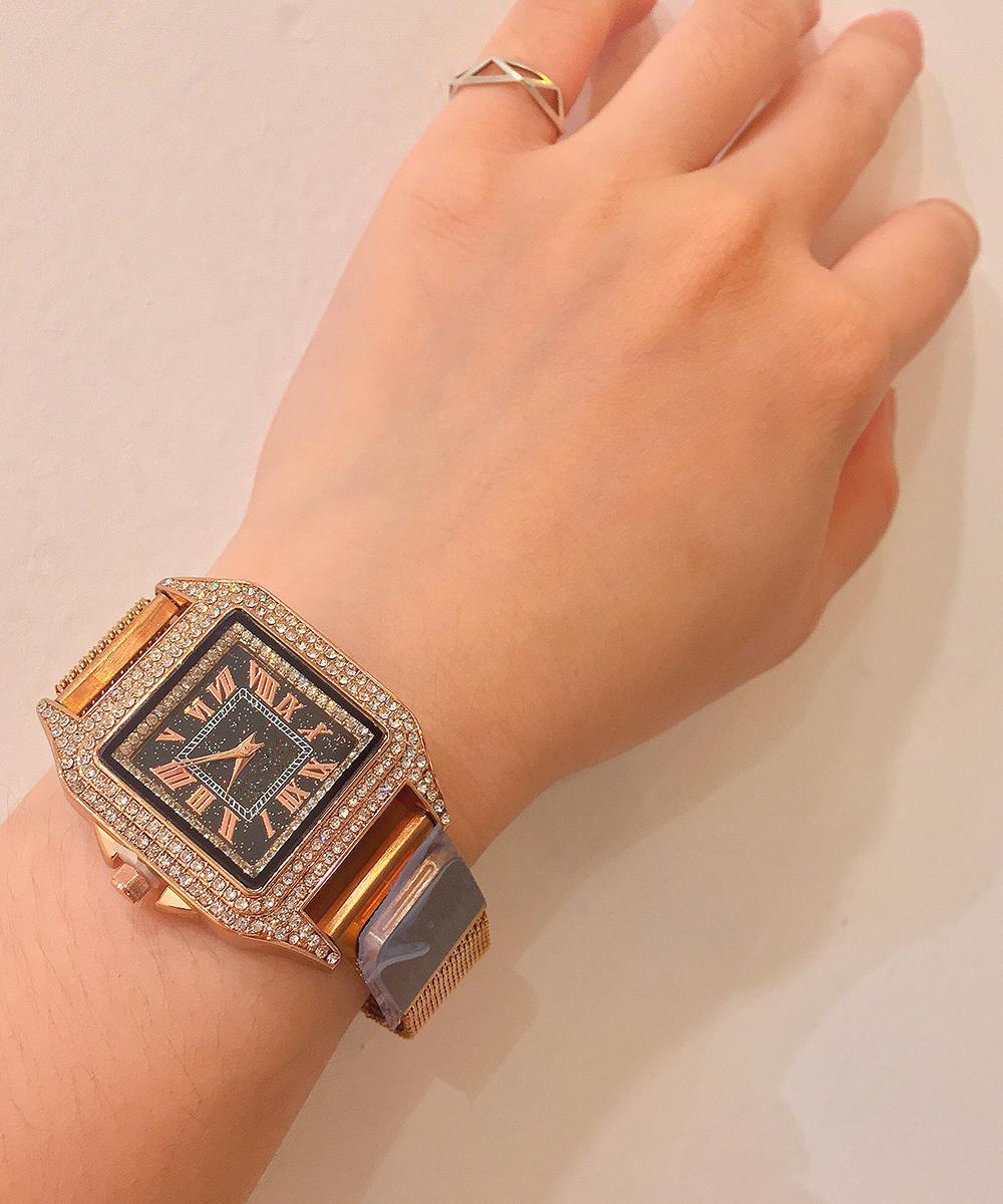 Đồng hồ nữ đính đá pha lê cao cấp (Tặng kèm 1 kính ngố cực cute)