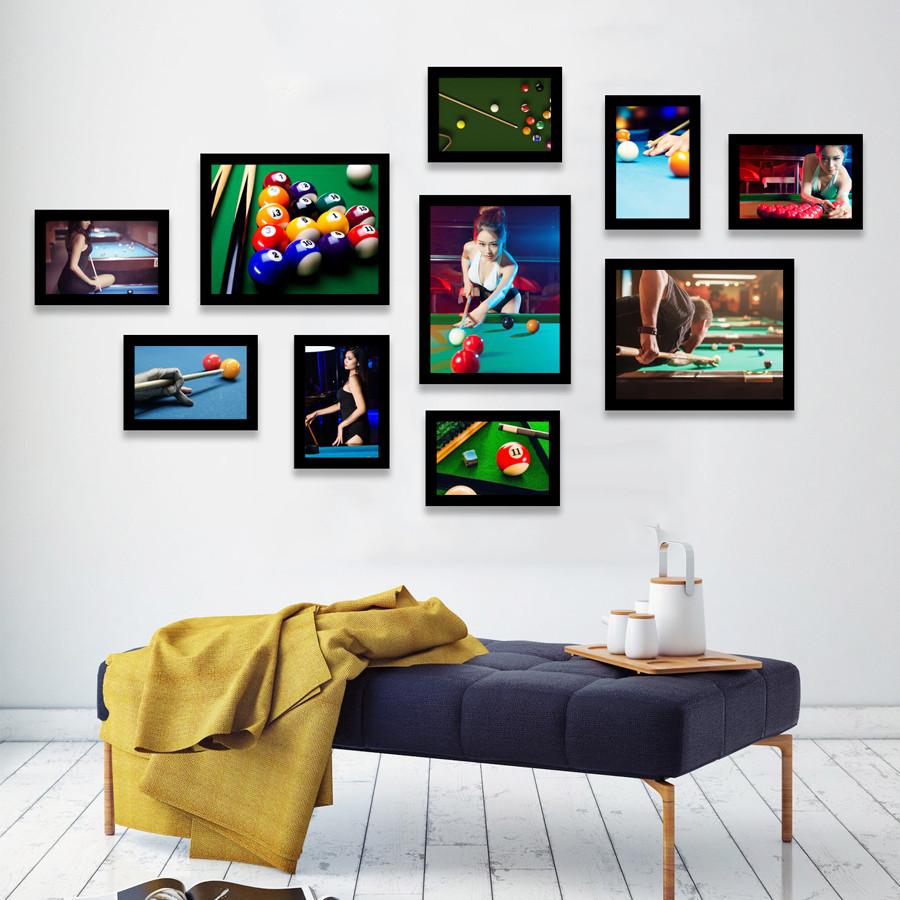 Bộ Khung Ảnh Treo Tường Trang Trí CLB Billiard (Bida) Hiện Đại Phong Cách Tặng Kèm bộ ảnh như hình mẫu, đinh treo tranh và sơ đồ treo PGC278