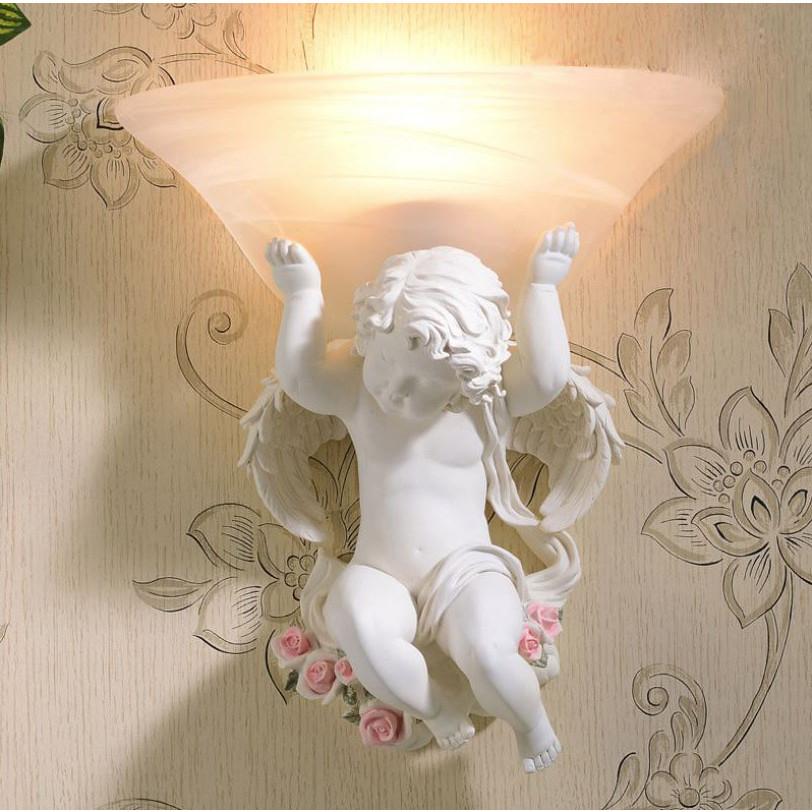 Đèn treo tường thiên thần màu trắng cậu bé may mắn phong cách tân cổ điển đèn trang trí tường nhà hàng khách sạn