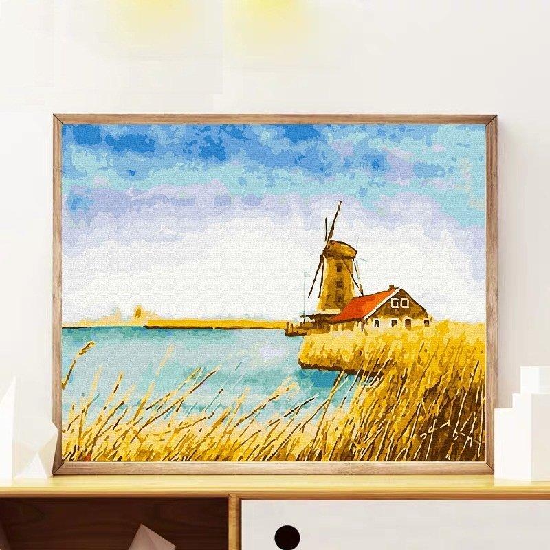 Tranh sơn dầu số hóa - tranh tô màu theo số-  khung gỗ 40x50 Mẫu 103