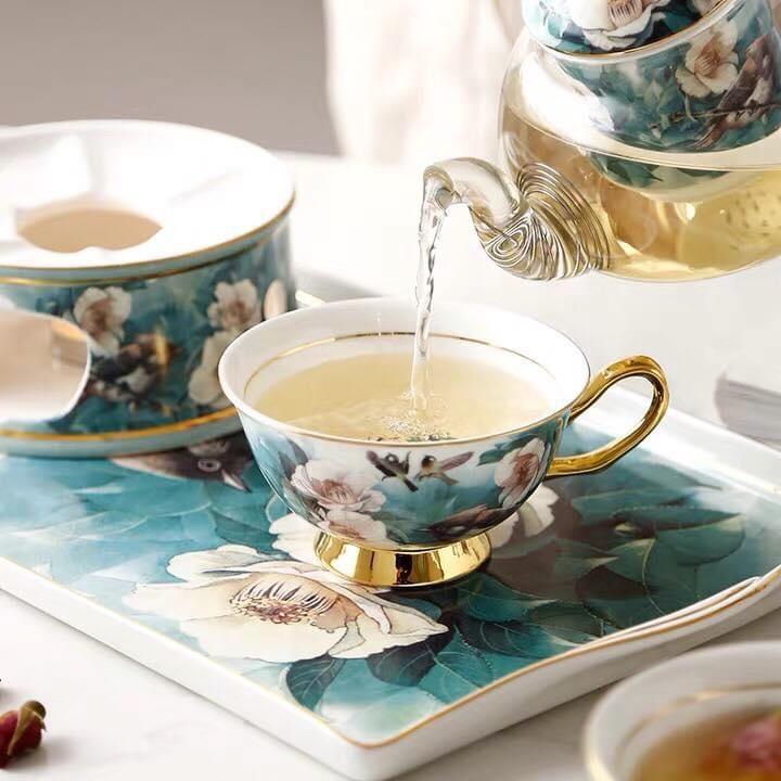 Bộ chén trà thủy tinh có khay cao cấp