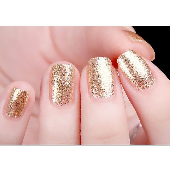 Sơn móng tay Aroma Nail Polish Hàn Quốc 12ml #63 lấp lánh vàng tặng kèm móc khóa
