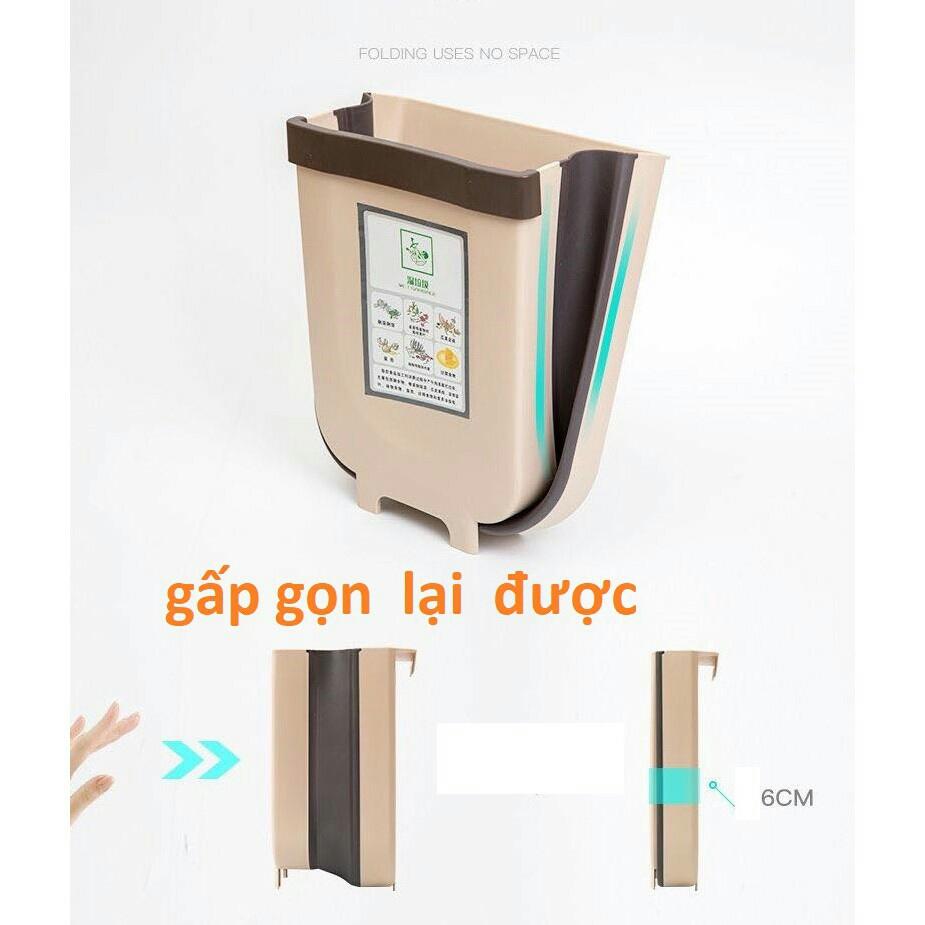 Thùng rác thông minh gấp gọn gắn cạnh tủ bếp, xe ô tô (giao màu ngẫu nhiên) -TRGG