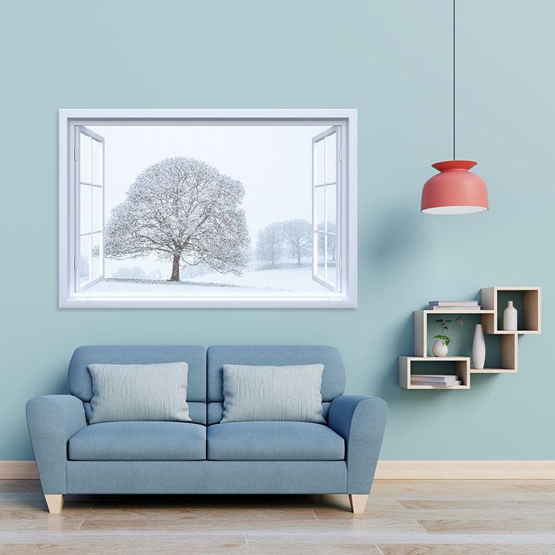 Decal cửa sổ Vườn cây tuyết trắng WD126   Decal dán tường PVC cao cấp