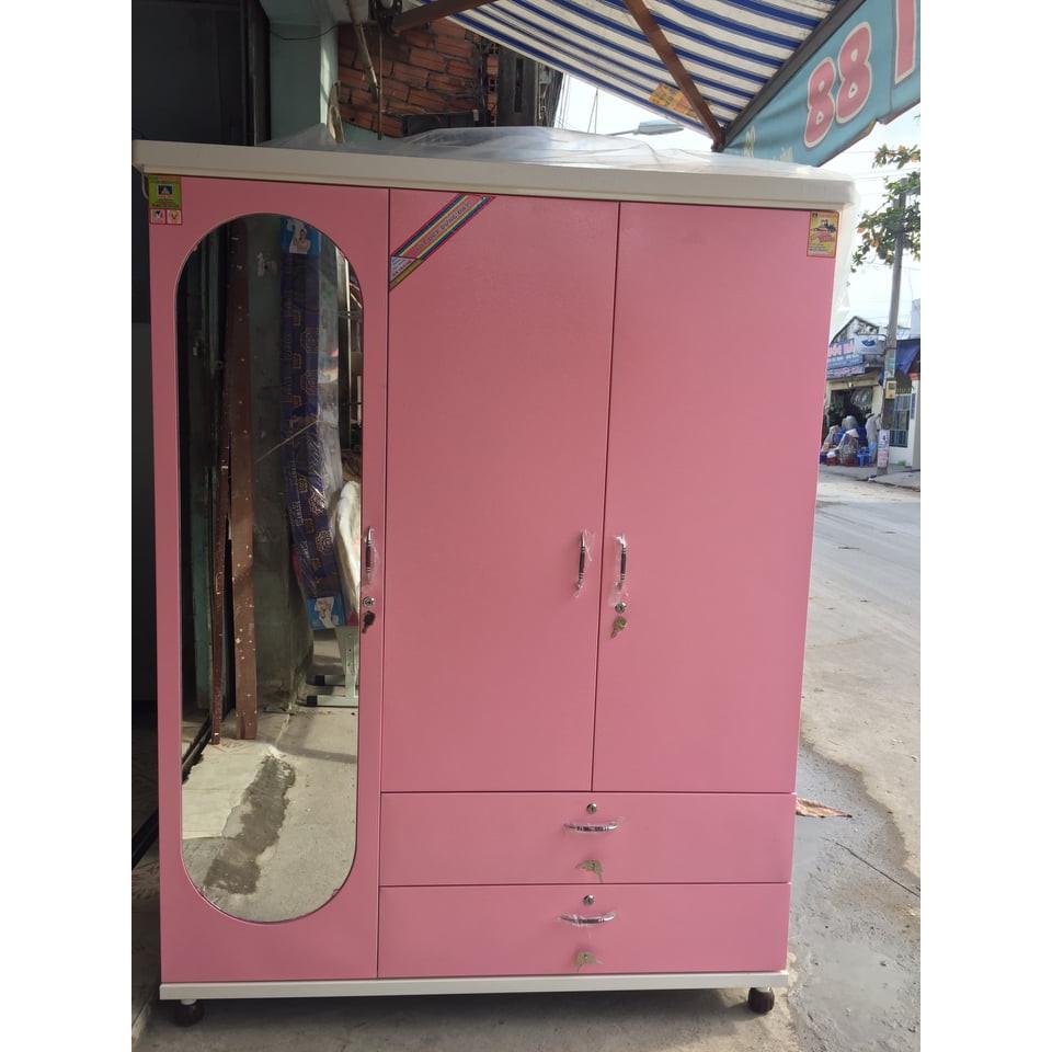 Tủ quần áo 3 cánh sơn tĩnh điện 1m8 tháo ráp màu hồng