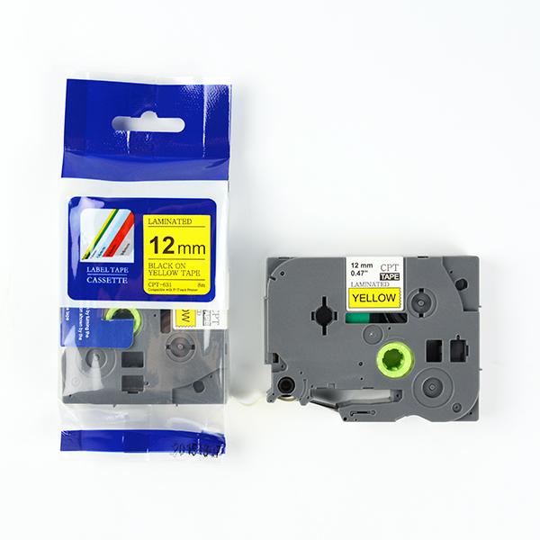 Tape nhãn in tương thích CPT-631 dùng cho máy in nhãn Brother P-Touch (chữ đen nền vàng, 12mm)