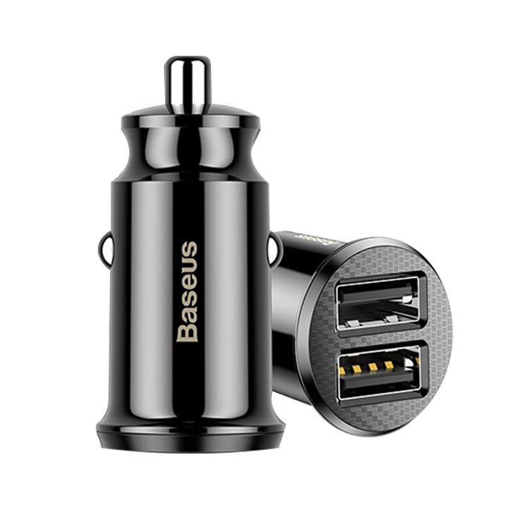 Tẩu sạc đa năng dùng cho xe hơi Baseus Grain Mini (5V, 3.1A Fast Charge, 2 cổng USB Car Charger) - Hàng Chính Hãng
