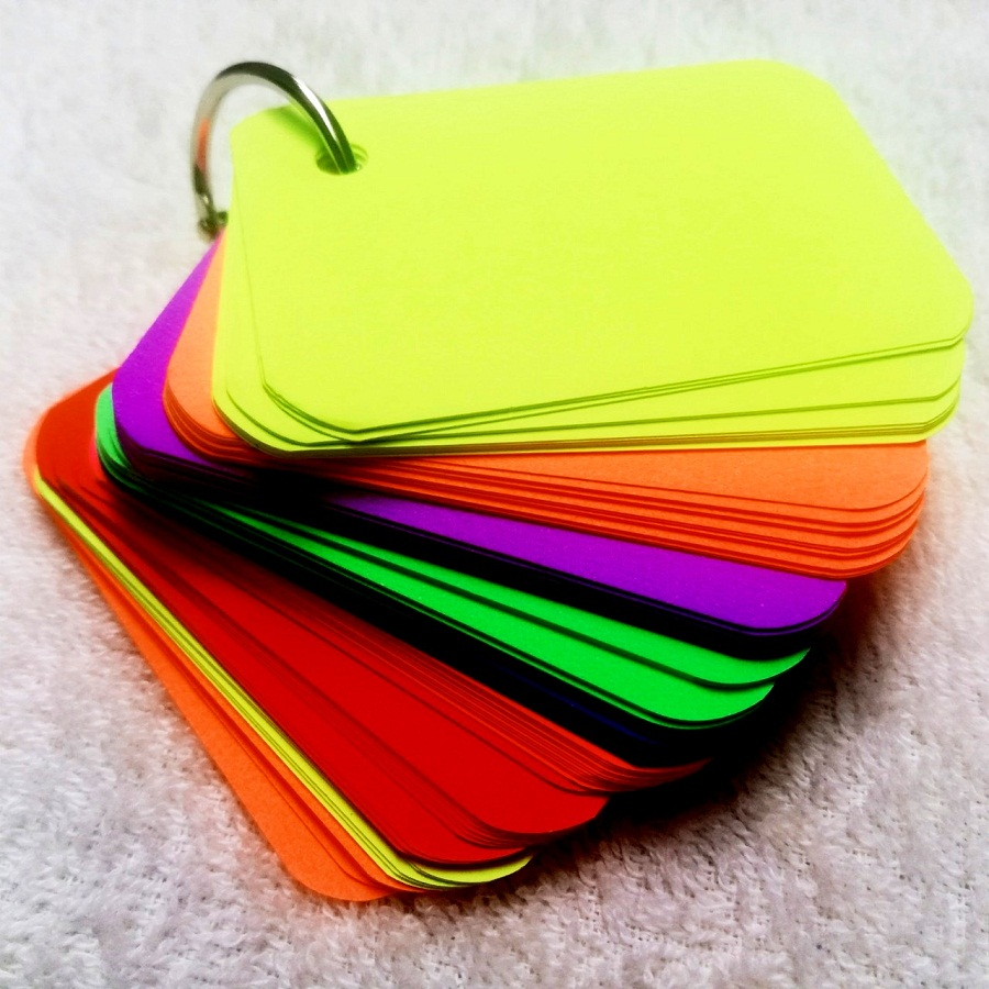 Combo 100 thẻ flashcards 8 màu dạ quang học tiếng anh  - Flashcard Phan Liên