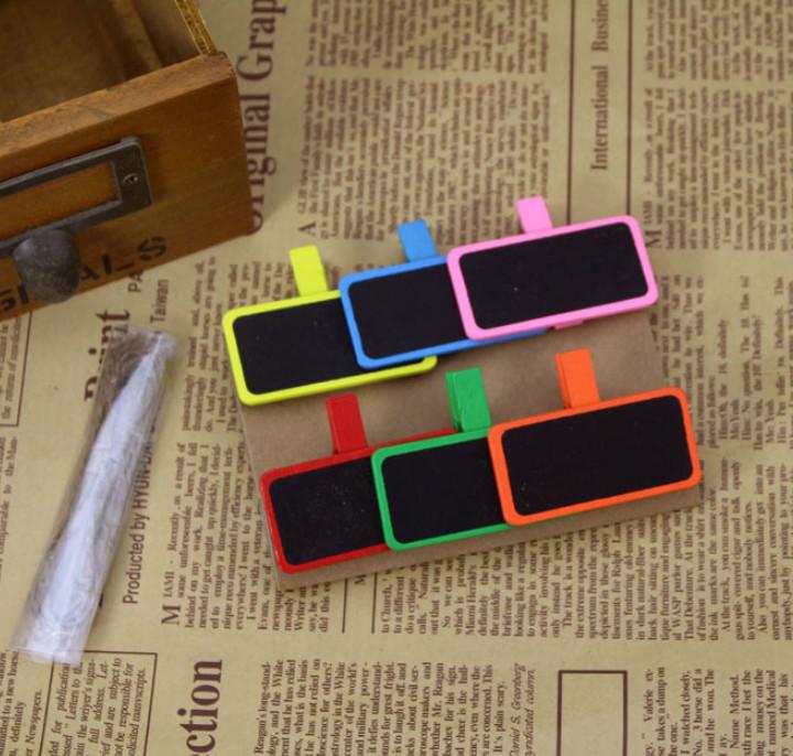 Bộ 6 kẹp gỗ bảng note sắc màu NGẪU NHIÊN