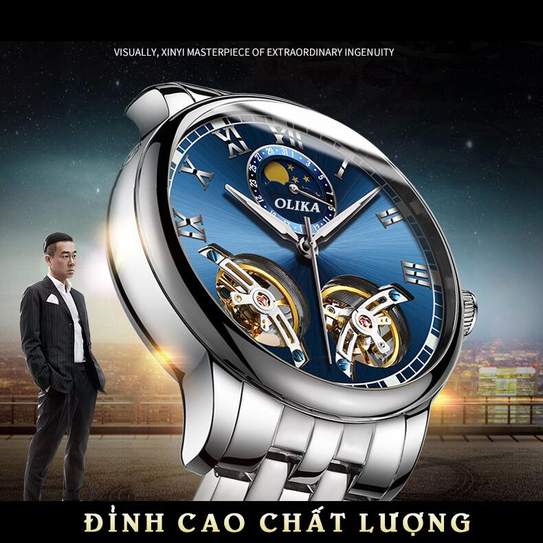Đồng Hồ Nam OLIKA 8862 Mặt Siêu 3D, Dây Demi Sang Trọng, Chống Nước Tốt