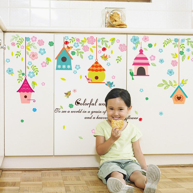 Decal trang trí dán tường hình lồng chim và hoa đầy màu sắc cho bé ZOOYOO SK7094