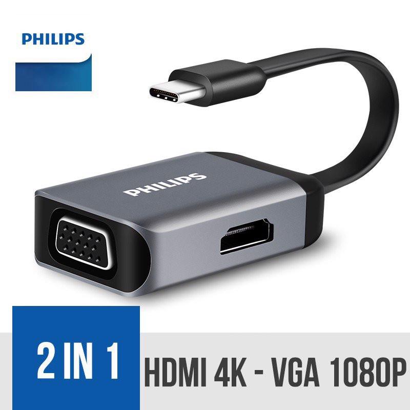 Cổng chuyển Type-C ra HDMI và VGA Philips - Hàng Chính Hãng