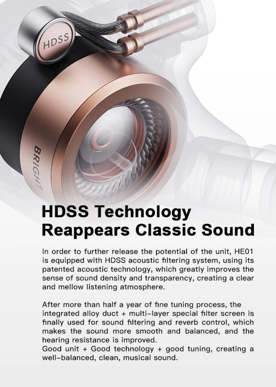Tai nghe cao cấp WHIZZER HE01, Chuẩn Hires, Công nghệ âm thanh HDSS cho trải nghiệm âm thanh cực tốt - Hàng chính hãng