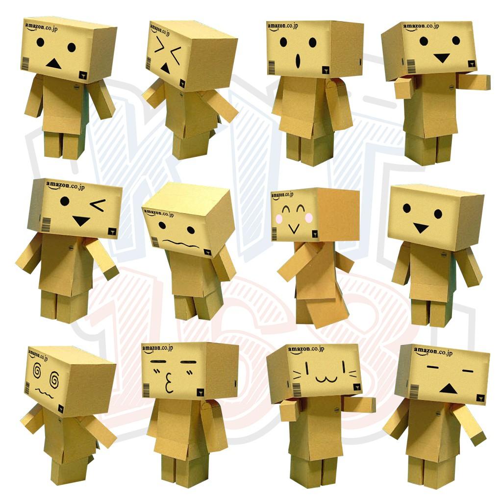 Mô hình giấy đủ 12 con bộ mặt biểu cảm Danbo Cute