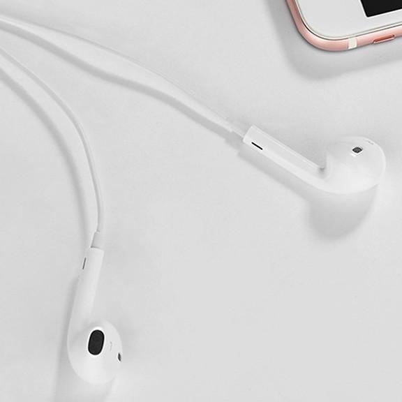 Tai nghe Hoco lightning chất liệu nhựa TPE giúp dây chống rối ( Trắng) - Hàng chính hãng