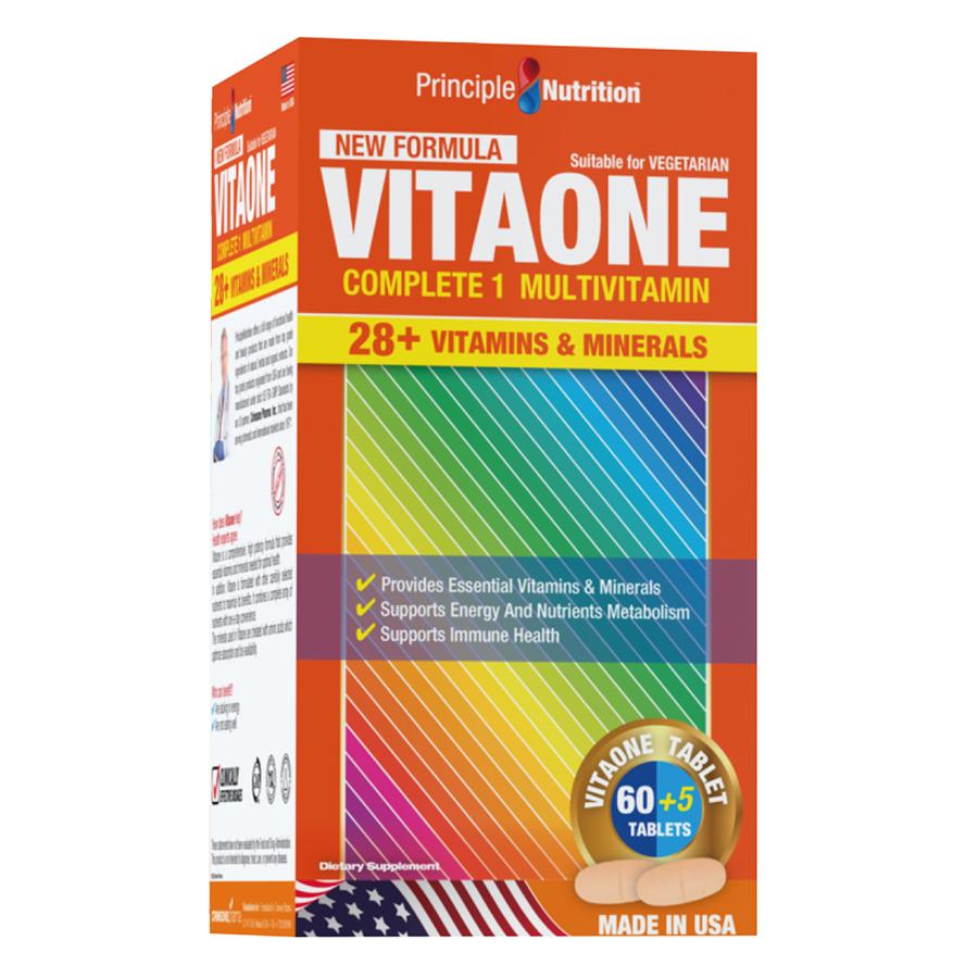 Thực Phẩm Chức Năng Bộ 2 Viên Bổ Sung Vitamin Và Khoáng Chất Thiết Yếu Cho Cơ Thể Principle Nutrition Vitaone (65 Viên / Hộp) + Tặng 1 Hộp Omega 3 (60 Viên)