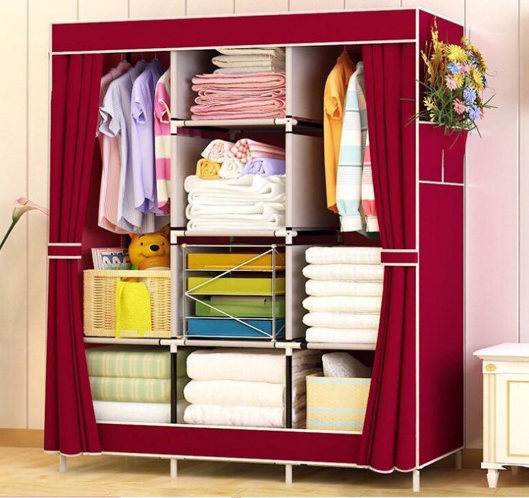 Tủ vải quần áo 3 buồng 8 ngăn trơn dành cho gia đình