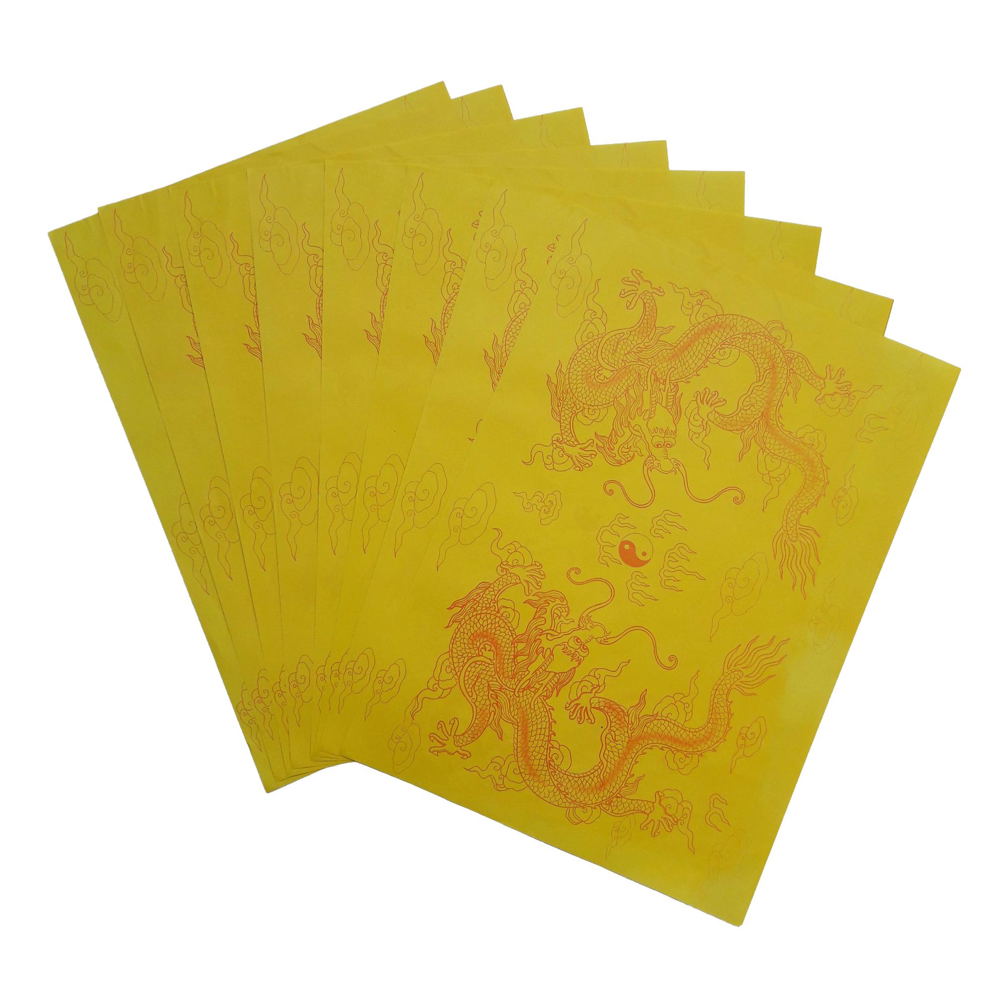 Giấy In Sớ Việt Lạc rồng chầu GISOVL029 a3 DL60 nền vàng
