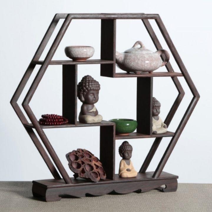 Kệ gỗ để tượng, chậu bonsai, vật phẩm phong thuỷ để bàn trang trí đẹp mà gọn
