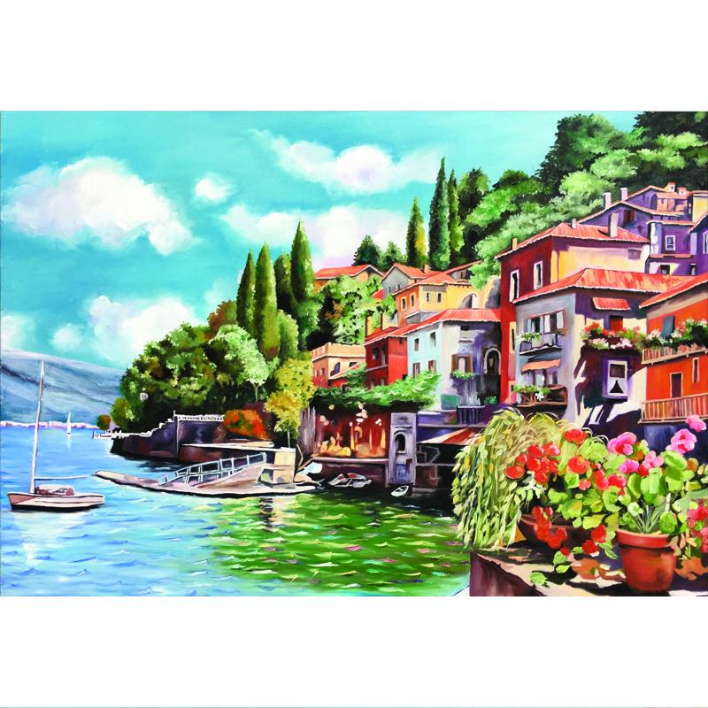 Tranh sơn dầu vẽ tay Thành phố ven biển OP030