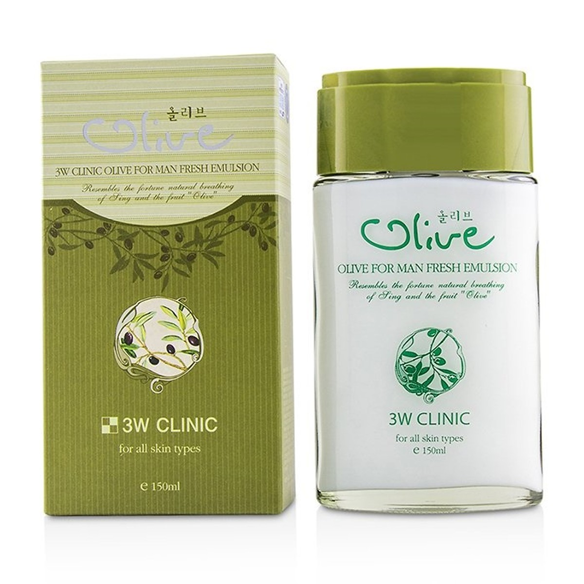 Set Bộ 2 sản phẩm dưỡng trắng da nam tinh chất dầu Olive 3W CLINIC OLIVE FOR MAN SET
