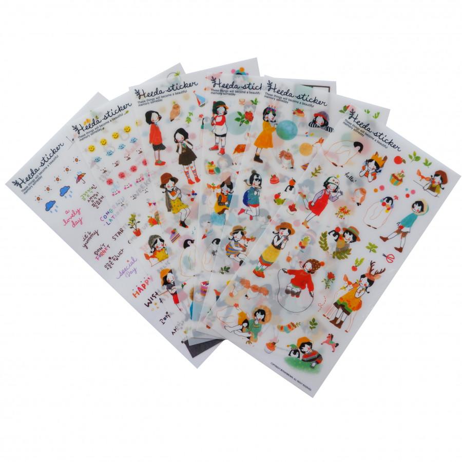 Bộ 6 tấm sticker trang trí Heeda