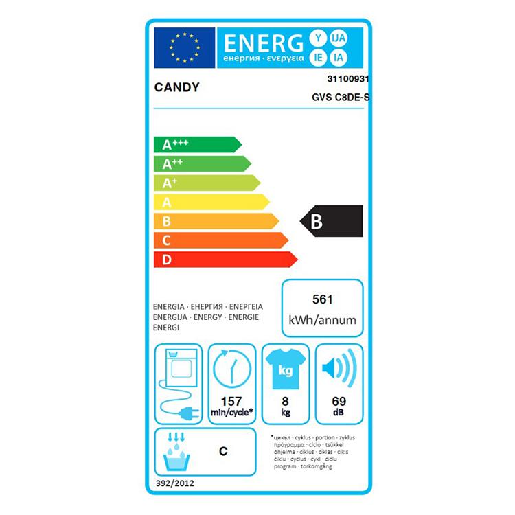 Máy sấy Candy 8 Kg GVS C8DE-S