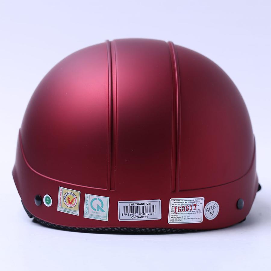Mũ Bảo Hiểm 1/2 Chita - Đỏ Đô Sơn Mờ (Size M)