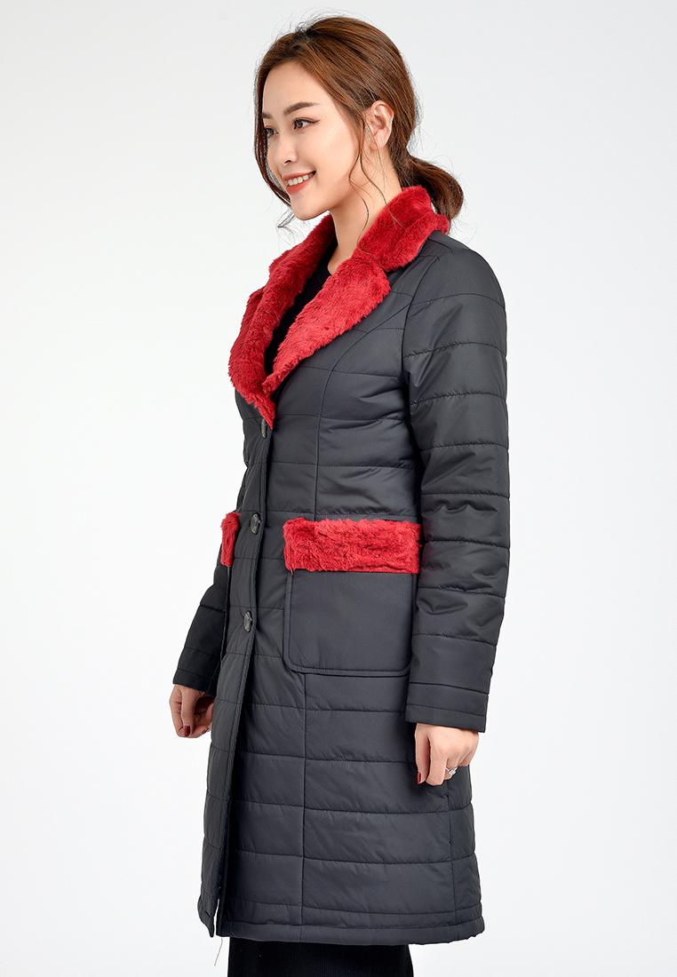 Áo phao dáng dài cổ lông Lamer L65P18T047-S1400 ( Đen phối đỏ )