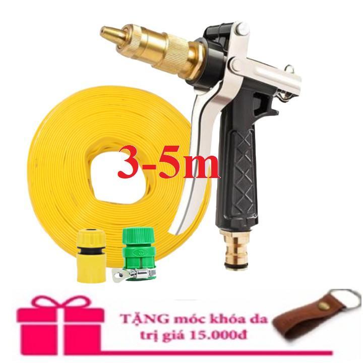 Bộ dây vòi xịt nước rửa xe,tưới cây đa năng,tăng áp 3 lần,loại 3m,5m 206236 đầu đồng,cút,nối nhựa vàng+ tặng móc khoá
