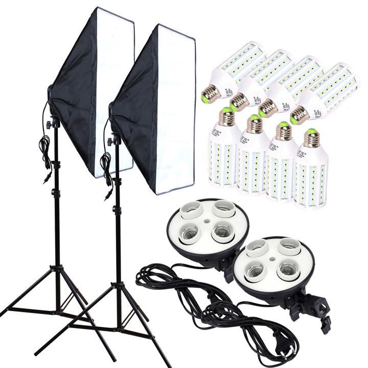 2 Softbox đuôi sứ bốn chuôi 50x70cm - 8 đèn Led 360 độ 28W - 2 Chân đèn 2m