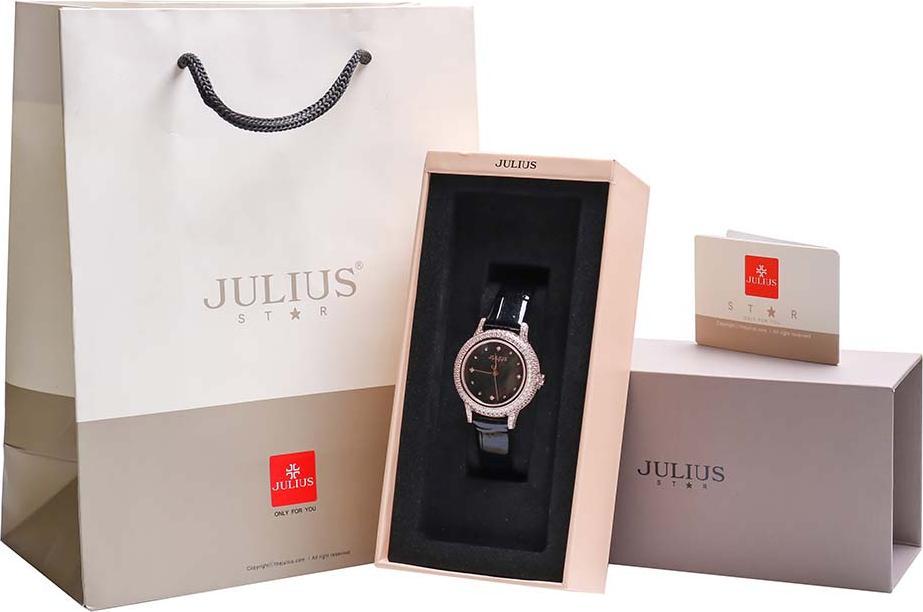 Đồng Hồ Nữ JS-044C Kính Sapphire Julius Hàn Quốc Dây Da (Đen)