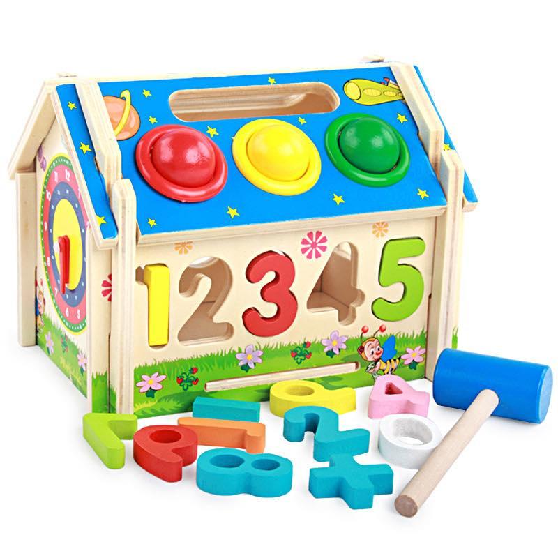 Bộ nhà thả số đập bóng bánh răng Mykids - đồ chơi gỗ