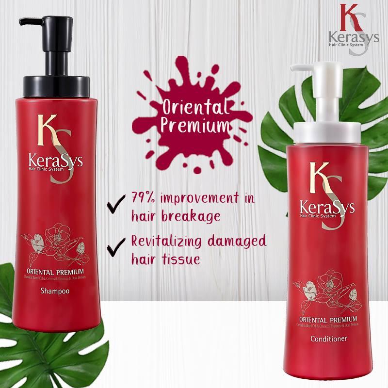 Dầu xả Kerasys Oriental Premium phục hồi tóc Hàn Quốc 600ml (Thảo mộc hạt trà ) tặng kèm móc khoá