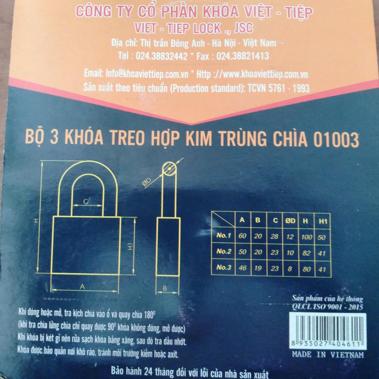 Combo 3 khóa chung chìa Việt Tiệp