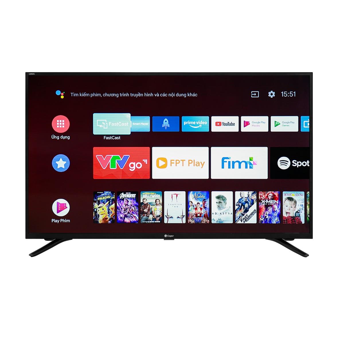 Smart Voice Tivi Casper 50UG5000 - Android 9.0, Bluetooth, Chromecast, 4K, Trợ lý Goolge - Hàng chính hãng