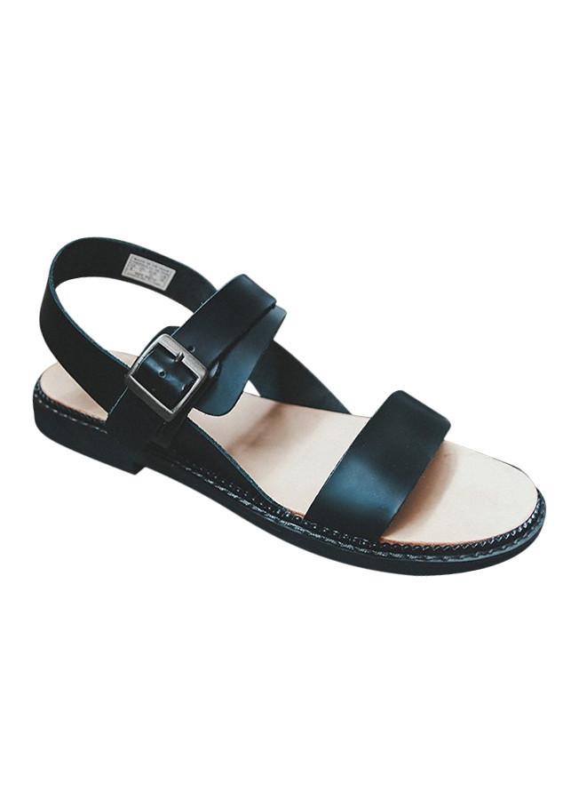 Giày Sandal Nam Cat Hai Quai Ngang Da Bò - Đen
