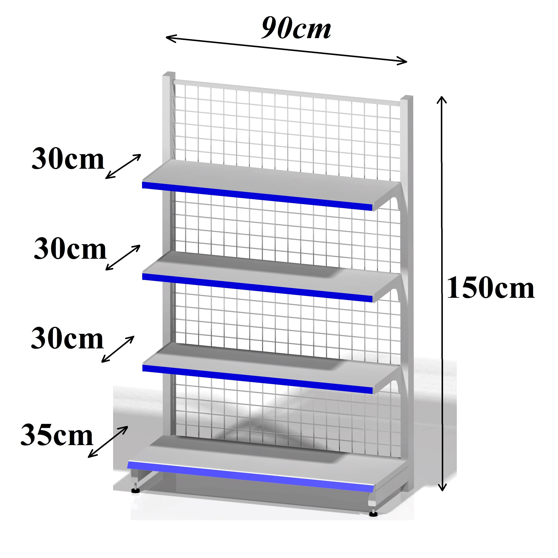 Kệ siêu thị áp tường (1 mặt) - Dài 90 x Rộng 35 x Cao 150 x 4 tầng
