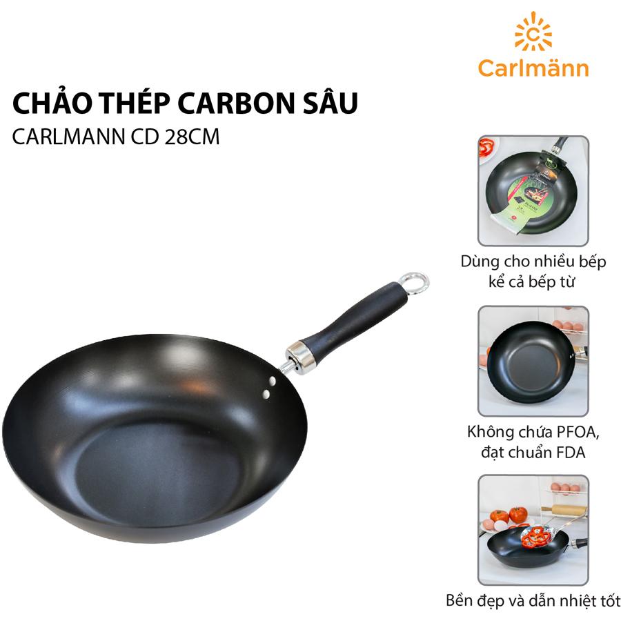 Chảo Thép Carbon Sâu Carlmann CD 008198 (28cm)