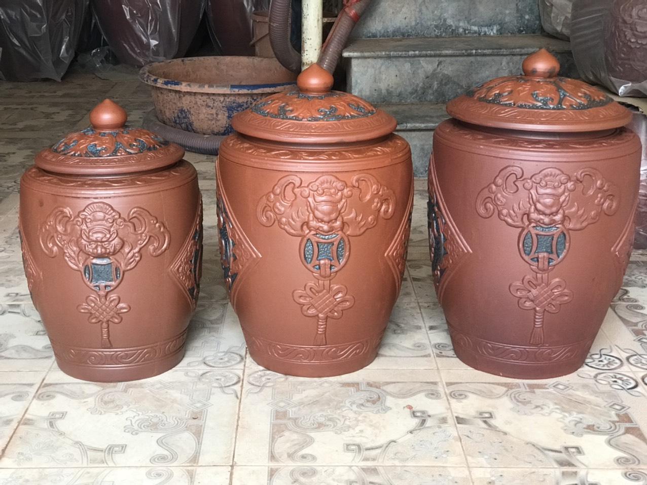Hũ sành đựng rượu gạo gốm sứ Bát Tràng loại 20L (15Kg gạo)